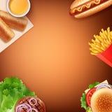 Vektorillustration av pommes frites, varmkorven, ostburgaren, den stekte lilla pastejen med sås och grillat kött med grönsaker vektor illustrationer