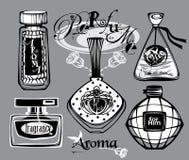 Vektorillustration av porfumeflaskor Arkivbild