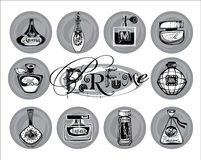 Vektorillustration av porfumeflaskor Royaltyfria Bilder