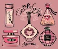 Vektorillustration av porfumeflaskor Arkivbilder