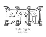 Vektorillustration av porten för Hadrian ` s i Antalya, Turkiet stock illustrationer