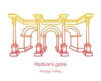 Vektorillustration av porten för Hadrian ` s i Antalya, Turkiet vektor illustrationer