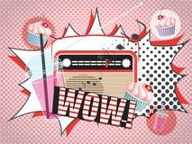 Vektorillustration av radiosmoothie- och muffindesignen i komisk stil för popkonst Royaltyfria Bilder