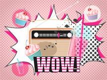 Vektorillustration av radiosmoothie- och muffindesignen i komisk stil för popkonst Royaltyfria Foton