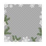 Vektorillustration av ramen från gröna granfilialer och vita snöflingor Nytt år prydlig barrträddekor för glad jul stock illustrationer