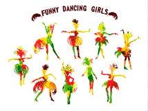 Vektorillustration av roliga dansflickor i ljusa karnevaldräkter med fjädrar Arkivbild
