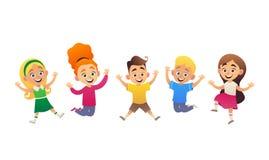 Vektorillustration av roliga tecknad filmbarn som hoppar och har gyckel stock illustrationer