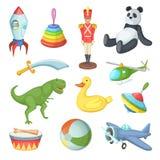 Vektorillustration av roliga tecknad filmleksaker för barns isolat på vit bakgrund stock illustrationer