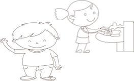 Vektorillustration av roliga ungar som spelar - bildvectorielles som borstar tänder --hälsa vänner vektor illustrationer