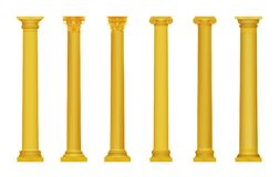 Vektorillustration av roma för guld- realistisk hög detaljerad grek forntida kolonner Lyxig guld- kolonn royaltyfri illustrationer