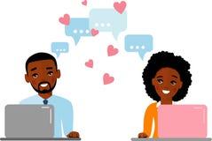 Vektorillustration av romantiskt folk för afrikansk amerikan som är förälskat i plan stil Royaltyfri Bild