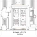 Vektorillustration av rum med skåpet Arkivbild