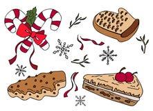 Vektorillustration av sötsakuppsättningen Klottra stil stock illustrationer