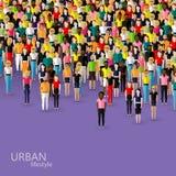 Vektorillustration av samhällemedlemmar med en folkmassa av män och kvinnor befolkning stads- livsstilbegrepp Royaltyfri Foto