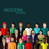 Vektorillustration av samhällemedlemmar med en stor grupp av män och kvinnor Royaltyfri Fotografi