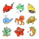 Vektorillustration av samlingen för havsdjur Royaltyfri Fotografi