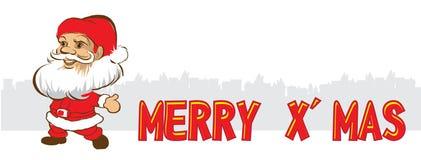 Vektorillustration av Santa Claus i en vit bakgrund arkivfoton