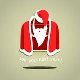 Vektorillustration av Santa Claus kläder på hängare Arkivbild
