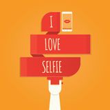 Vektorillustration av selfie som tar det Selfie fotoet på smart Phon Royaltyfri Illustrationer