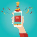 Vektorillustration av selfie som tar det Selfie fotoet på smart Phon Stock Illustrationer