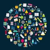 Vektorillustration av shoppingsymboler Arkivbilder