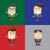 Vektorillustration av sinnesrörelser för en variation, grimassy, framsidaform och frisyren, tillbehör för unga män Arkivfoton
