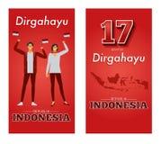Vektorillustration av självständighetsdagenrepubliken av Indonesien royaltyfri illustrationer