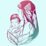 Vektorillustration av skvokvinnan med barnet Royaltyfria Bilder