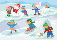 Vektorillustration av små barn som utomhus spelar i vinter Royaltyfri Fotografi