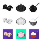 Vektorillustration av smak och produktlogoen St?ll in av smak och att laga mat materielsymbolet f?r reng?ringsduk vektor illustrationer