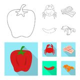 Vektorillustration av smak och produktsymbolen Samlingen av smak och att laga mat lagerf?r symbolet f?r reng?ringsduk royaltyfri illustrationer