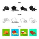 Vektorillustration av smak- och seasoninlogoen Samling av smak och organisk vektorsymbol f?r materiel stock illustrationer