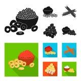 Vektorillustration av smak- och seasoninlogoen St?ll in av smak och den organiska vektorsymbolen f?r materiel stock illustrationer
