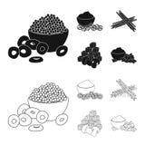 Vektorillustration av smak- och seasoninsymbolet St?ll in av smak och organisk materielvektorillustration vektor illustrationer