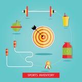 Vektorillustration av sportutrustningar, sportinventarium Vektor Illustrationer