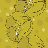 Vektorillustration av stiliserade gula vallmo med svarta översikter med spridda monochromatic prickar vektor illustrationer