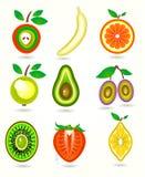 Vektorillustration av stiliserade snittfrukter. Royaltyfri Fotografi