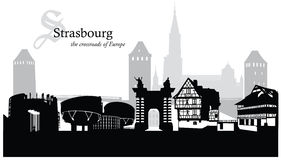 Vektorillustration av Strasbourg cityscapehorisont Arkivfoto
