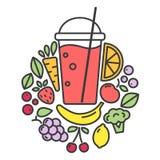 Vektorillustration av strikt vegetariandetoxsmoothien royaltyfri illustrationer