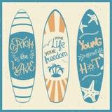 Vektorillustration av surfingbrädor med bokstäver Arkivfoto