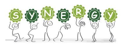 Vektorillustration av synergibegreppet stock illustrationer