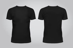 Vektorillustration av T-tröja, framdelen och baksida för designmallsvarta män på en ljus bakgrund innehåller