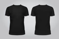 Vektorillustration av T-tröja, framdelen och baksida för designmallsvarta män på en ljus bakgrund innehåller Arkivbilder