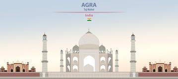 Vektorillustration av Taj Mahal i Agra på härlig dagbakgrund för färgrik lutning stock illustrationer