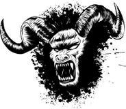 Vektorillustration av tatueringen för diabolikdemonframsida royaltyfri illustrationer