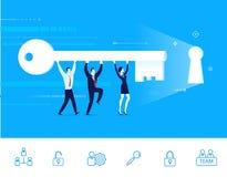 Vektorillustration av teamwork Laget går till dörren med en tangent Royaltyfri Foto