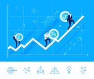 Vektorillustration av teamwork Växande pil för lag med pengar Arkivbild