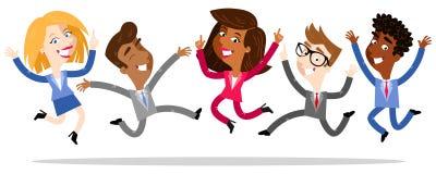 Vektorillustration av tecknad filmaffärsfolk som hoppar och firar stock illustrationer