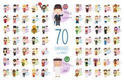 Vektorillustration av tecknad filmtecken som säger hälsningar och välkomnande i 70 olika språk vektor illustrationer