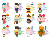 Vektorillustration av tecknad filmtecken som säger hälsningar och välkomnande i 12 olika språk Arkivbild